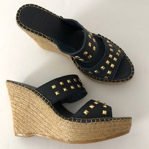Andre Assous Navy Blue Studded Wedge Sandals